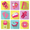 Cute cartoons icons for newborn baby girl Royalty Free Stock Photo