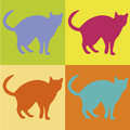 Cute cat abstract on squares with different color Stock Photo