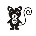 Cute cat black icon with heart on white Stock Images