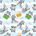 Cute cat in box vector seamless pattern