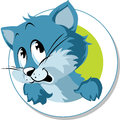 Cute cat cartoon button Stock Images