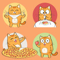 Cute cat character set of having food Stock Photography