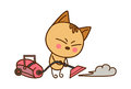 Cute Cat cleaning with a vacuum cleaner.