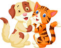 Cute cat and dog cartoon illustration of Royalty Free Stock Image