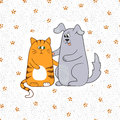 Cute cat and dog. Doodle vector illustration.