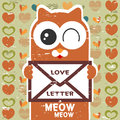 Cute cat holding a love letter Royalty Free Stock Photos