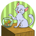 Cute cat looking at fish in a bowl cartoon Stock Image