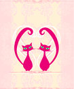 Cute cat in love card illustration Stock Photo