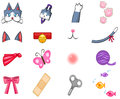 Cute cat pet item toy and accessories decoration object icon collection set used for graphic design sticker clip art create by Stock Photos