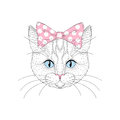 Cute cat portrait with pin up bow tie on head. Hand drawn kitty