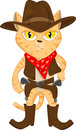 Cute cat and revolvers vector illustration of Stock Photos