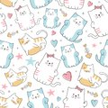 Cute cat seamless pattern with colorful nursery background for fashion textile wrapping and print. Vector illustration hand drawn