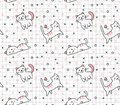 Cute cat seamless pattern in kawaii doodle style vector illustration