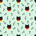 Cute cat seamless pattern with musical note background. Royalty Free Stock Photo