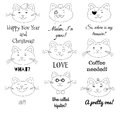 Cute cat set. Grumpy, pirate, sir, girl, santa, in love, laughing, hipster, sad cats illustrations with text labels.