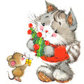 Cute cat. Watercolor funny cat and Christmas background