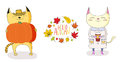 Cute cats in autumn with leaves and quote