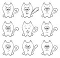 Cute cats emotions a cartoon cat could be used as smileys Stock Image