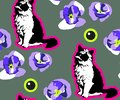 Cute Cats and flowers seamless pattern. Pet vector illustration. Cartoon cat images. Cute design for kids