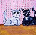 Cute cats folk art Stock Photo