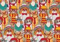 Cute cats group fashion hipster seamless pattern. Royalty Free Stock Photo