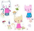 Cute cats illustration with flowers