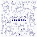 Cute cats like unicorn vector set. Cartoon kittens on school notebook page