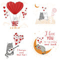 Cute cats in love. Set of funny cartoon cats