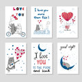 Cute cats in love. Set of romantic card