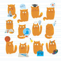 Cute Cats Studying School Subjects Royalty Free Stock Photos