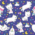 Cute cats unicorn vector seamless pattern for kids textile print
