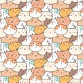 Cute Cats Vector Pattern Background. Fun Doodle. Royalty Free Stock Photo