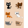 Cute cats vector set.
