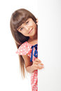 Cute caucasian girl with blank board Royalty Free Stock Image