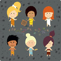 Cute cave people cartoon characters Stock Photography