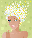 Cute chamomile girl Royalty Free Stock Photography