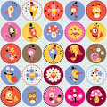 Cute characters pattern birds mushrooms flowers snails design Royalty Free Stock Photo