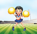A cute cheerdancer at the soccer field illustration of Stock Photo