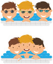 Cute cheerful boys relaxing in the pool