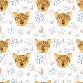 Cute cheetah doodle hand drawn flat seamless pattern. Cartoon abstract animal in scandinavian style. Wild rainforest animal. Grass