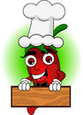 The cute chef chili cartoon Stock Photography
