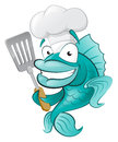 Cute chef fish with spatula great illustration of a cartoon cod holding a frying Stock Photos
