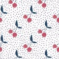 Cute cherries wallpaper on dots background. Cherry seamless pattern for fabric design Royalty Free Stock Photo