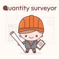 Cute chibi kawaii characters. Alphabet professions. Letter Q - Quantity surveyor. Royalty Free Stock Photo