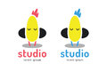 Cute chick silhouette logo icon. Chicken music Royalty Free Stock Photo