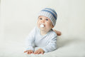 Cute child baby with pacifier on background Royalty Free Stock Photography