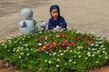 Cute child and flower garden in nami island Royalty Free Stock Photo