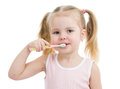 Cute child girl brushing teeth isolated on white background Stock Photos