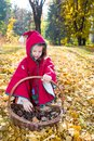 Cute child girl playing with fallen leaves in autumn park Royalty Free Stock Photography