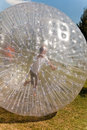 Cute child has a lot of fun in the zorbing ball Stock Photography